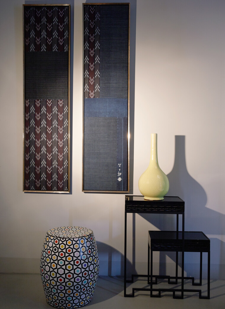 Indigo Paneelen aus antiken Indigo Stoffen und Firemen's Kimono Details