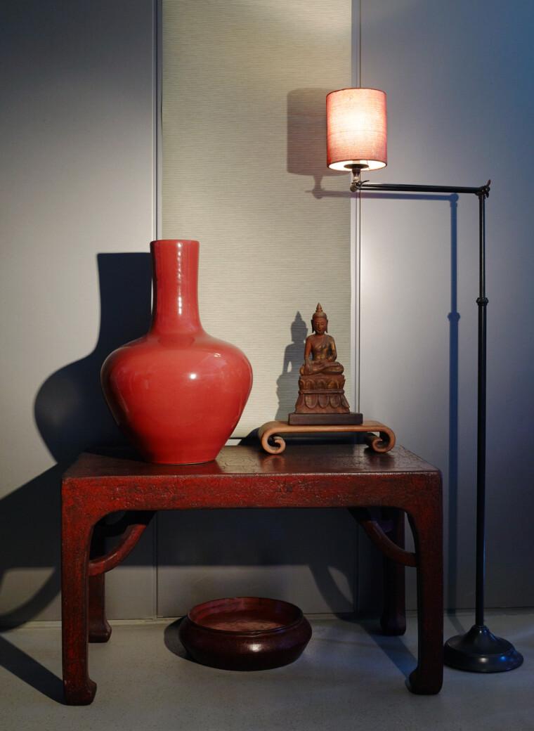 Roter Crackeled Lacktisch – massives Holz – aus einem Stück gearbeitet CHINA  Anfang 1900